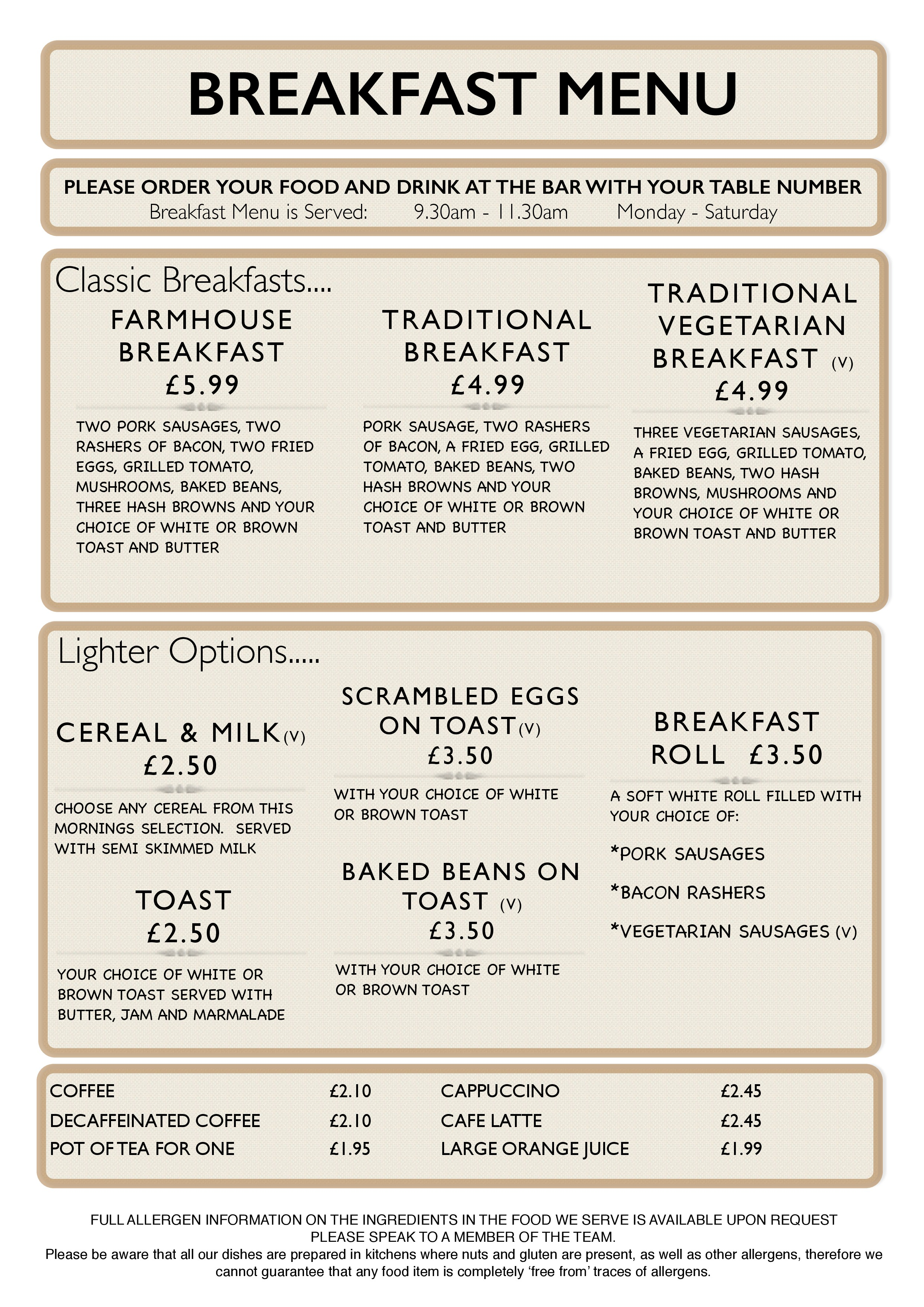 graphic regarding Printable Menus referred to as Menus - Larch Farm